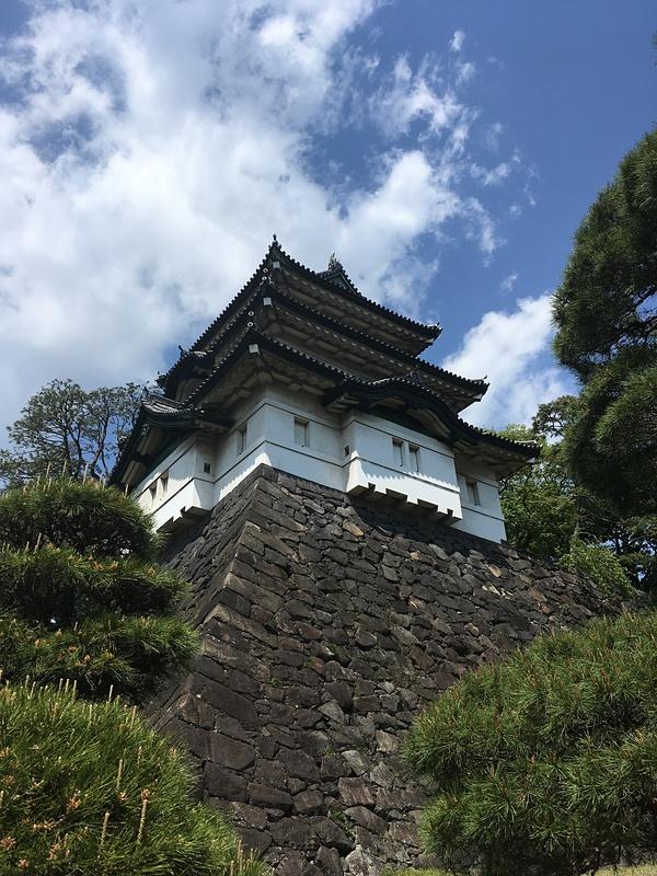 富士見櫓と石垣と松と青空
