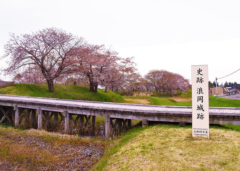 城址碑と桜[浪岡城]