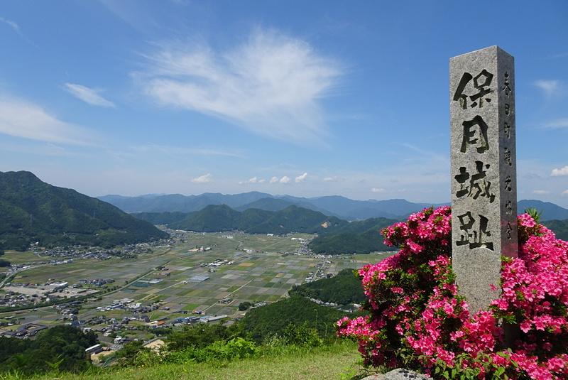 山頂の石碑とツツジそして風景[黒井城]