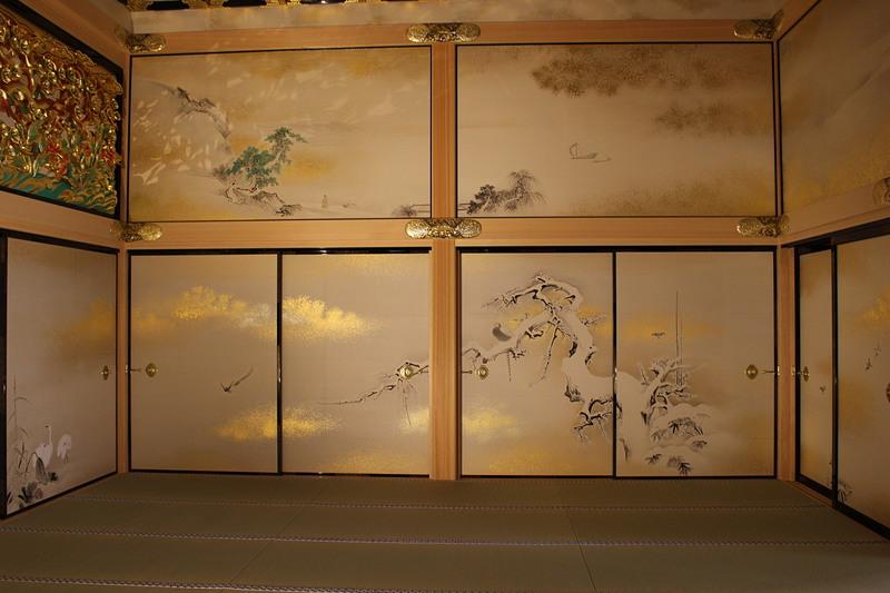 上洛殿三之間の雪中梅竹鳥図