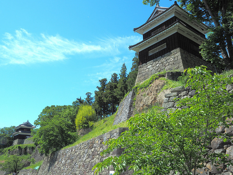 尼ヶ淵から見る西櫓と南櫓(初夏Ver.)
