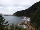 妙玖寺跡兵倉跡から指月山西側海岸…