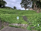 公園入口から見上げる曲輪群…