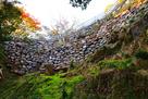 岩盤上に現存の石垣…