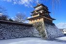 凍りついた高島城…