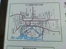 牛久保城付近の古図(案内板のアップ)…