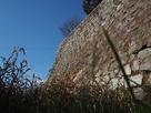 お堀から見上げた石垣…