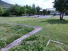 平面表示された建物址と庭園…