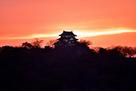 夕焼けの彦根城…