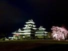 しだれ桜と松本城…