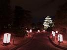 桜色に輝く、城外の行灯…