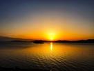 宍道湖に沈む夕陽…