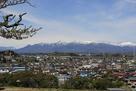 城址から西方、那須連山を望む…