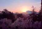 岩木山に沈む夕日…