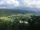 登城口から見える修善寺市街と狩野川…
