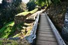 木橋から物見台下虎口方向…