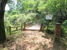 空堀跡に架かる木橋…