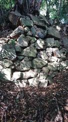 東南郭背後の切岸の石垣…