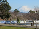 発掘調査現場越しの富士山…