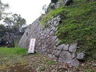 残る当時の崩れそうな石垣…