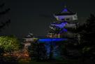ブルーライトアップ伊賀上野城…