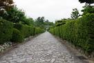 御城番長屋の通りから見る松坂城跡…