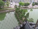 模擬天守最上階からの虎口に向かう土橋…