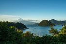 第一曲輪から見た三枚橋城方面と富士山…
