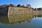 三の丸石垣と水堀(南西側)…