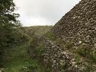 どこまでも続くように見える野面積みの城壁…