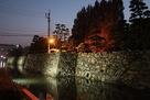 夕方の石垣と紅葉