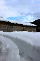 復原町並と雪