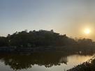 夕日と丸亀城