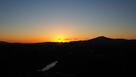 天守展望台からの夕日(木曽川と笠置山)…