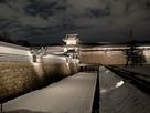 【2月ライトアップ】積雪の橋爪門続櫓と内…