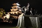 夜の天守と藤堂高虎公の像…