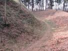 北側の高い土塁の上の横堀…
