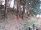 陣屋沼(柵の右側)の上にそびえる高い土塁…