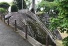 三の丸の岩盤が露出した石垣…