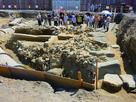 三木郭・寺島口門台、裏込め砕石を西から…
