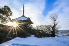 摠見寺三重塔 雪景色