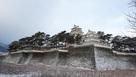 薄雪化粧の島原城…