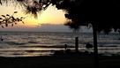湖畔の松と夕陽と太閤井戸…