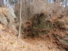 天然岩を切り取った堀切…