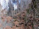 天然の岩を切り取った堀切…