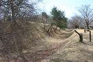 本丸の土塁と空堀…