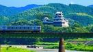 大洲城 お城と電車…