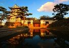 高松城 夕暮れの月見櫓と水手門…