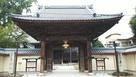 西超勝寺山門と藤島城跡の石碑、説明板…