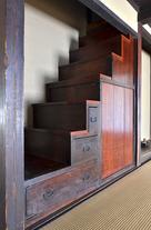 旧横田家住宅室内の箱階段…